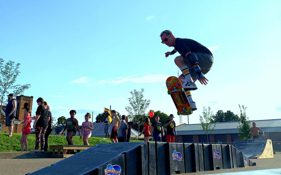 Pro Skater Doug Brown Skateboard Jump on LandWave Ramps